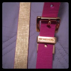 Reversible Michael Kors belt pink and gold